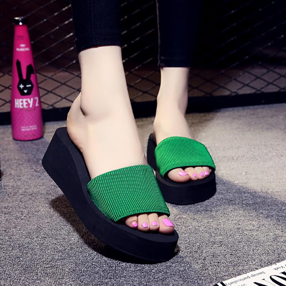 Women Wedge EVA  Platform jewelry Flip Flops Sandals Shoes Black