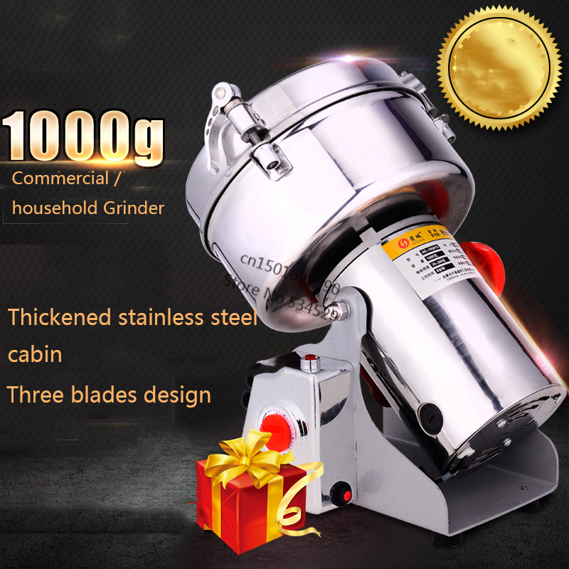 Hot Sale Mills 1000g Swing Type For Grain Grinder Full Stainless Steel Pepper Mill Electric Food Mill 220v/110v Food Crusher
