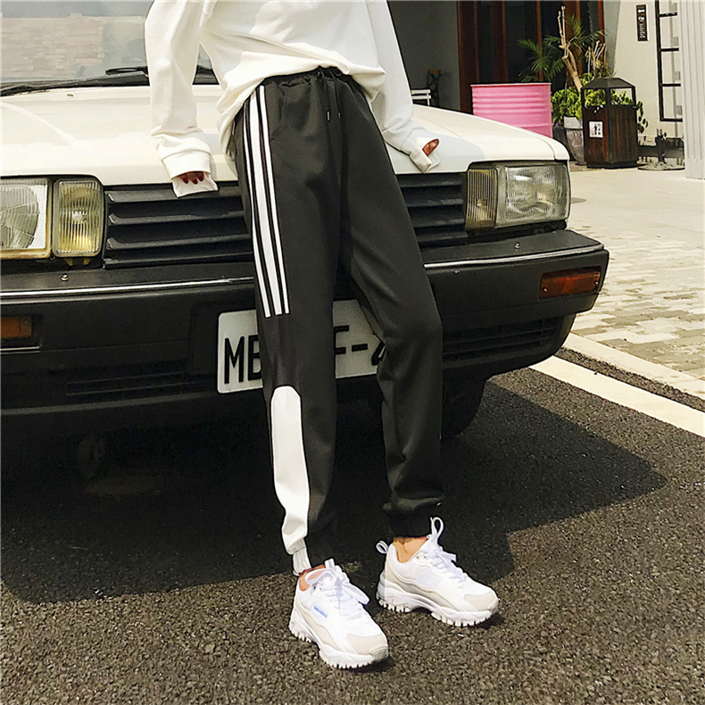 Cargo Pants Women Patchwork Long Pants High Waist Side Striped Black Trousers Student Elastic Waist Harajuku Plus Size Bottoms 65