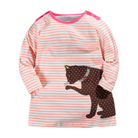 2015 Long Sleeve Casual Dress Cute Duck Patch Embroidered 100 Cotton Kids Dress Next Clothing Style