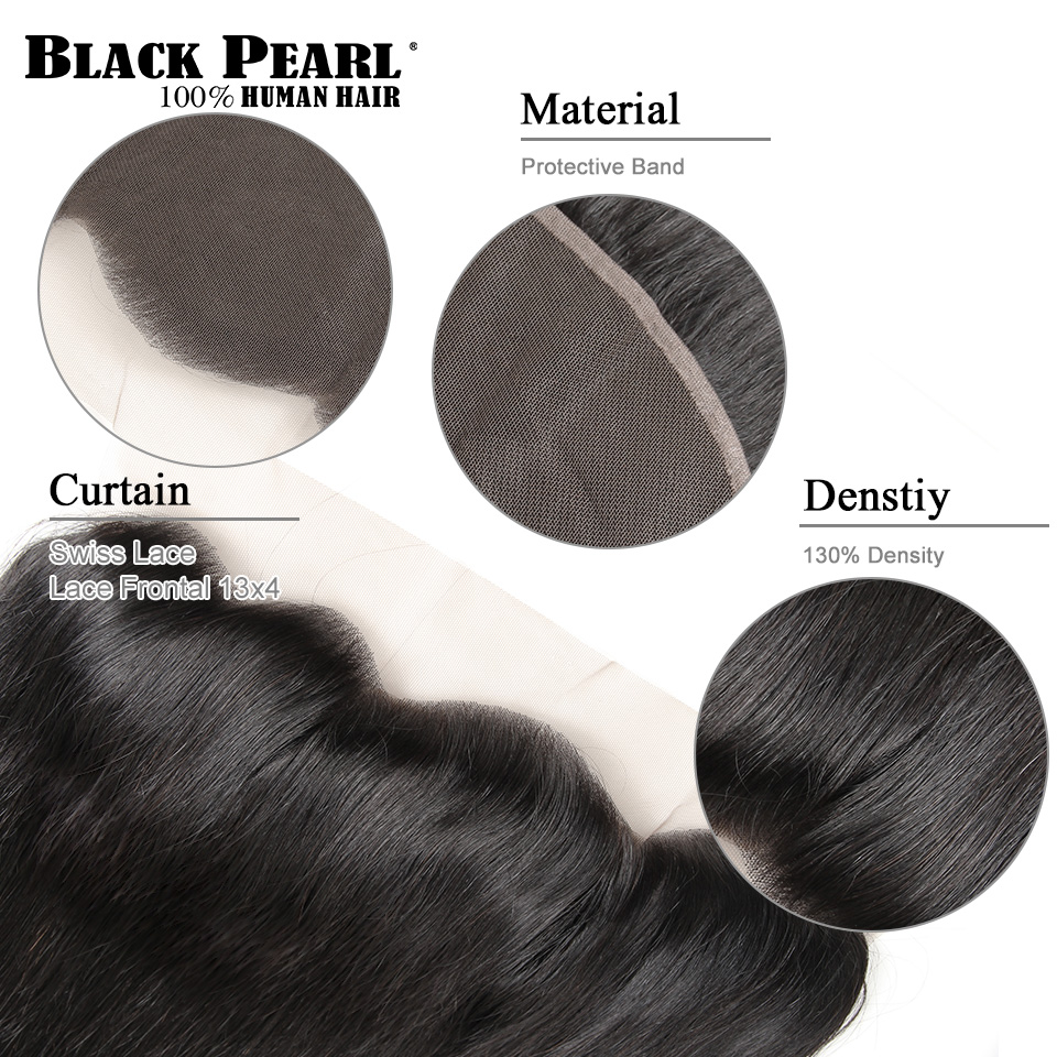 Image 5 - Black Pearl Brazilian Straight Hair Lace Frontal Closure With Bundles Non Remy Human Hair With Frontal 3 Bundles With Frontal-in 3/4 Bundles with Closure from Hair Extensions & Wigs