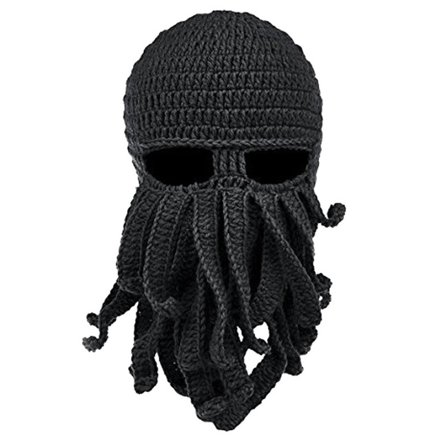 Funny Tentacle Octopus Hat Cthulhu Beard Knit Beanie Hat Cap Wind Winter  Hunting Hats Mask Face Soft Hunting Caps 76ec3764dcf