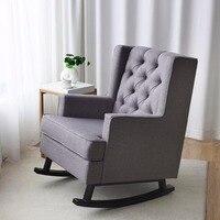 Giantex Mid Century ретро ткань мягкое кресло качалка кнопка Tufted серая мебель для дома HW60293 +