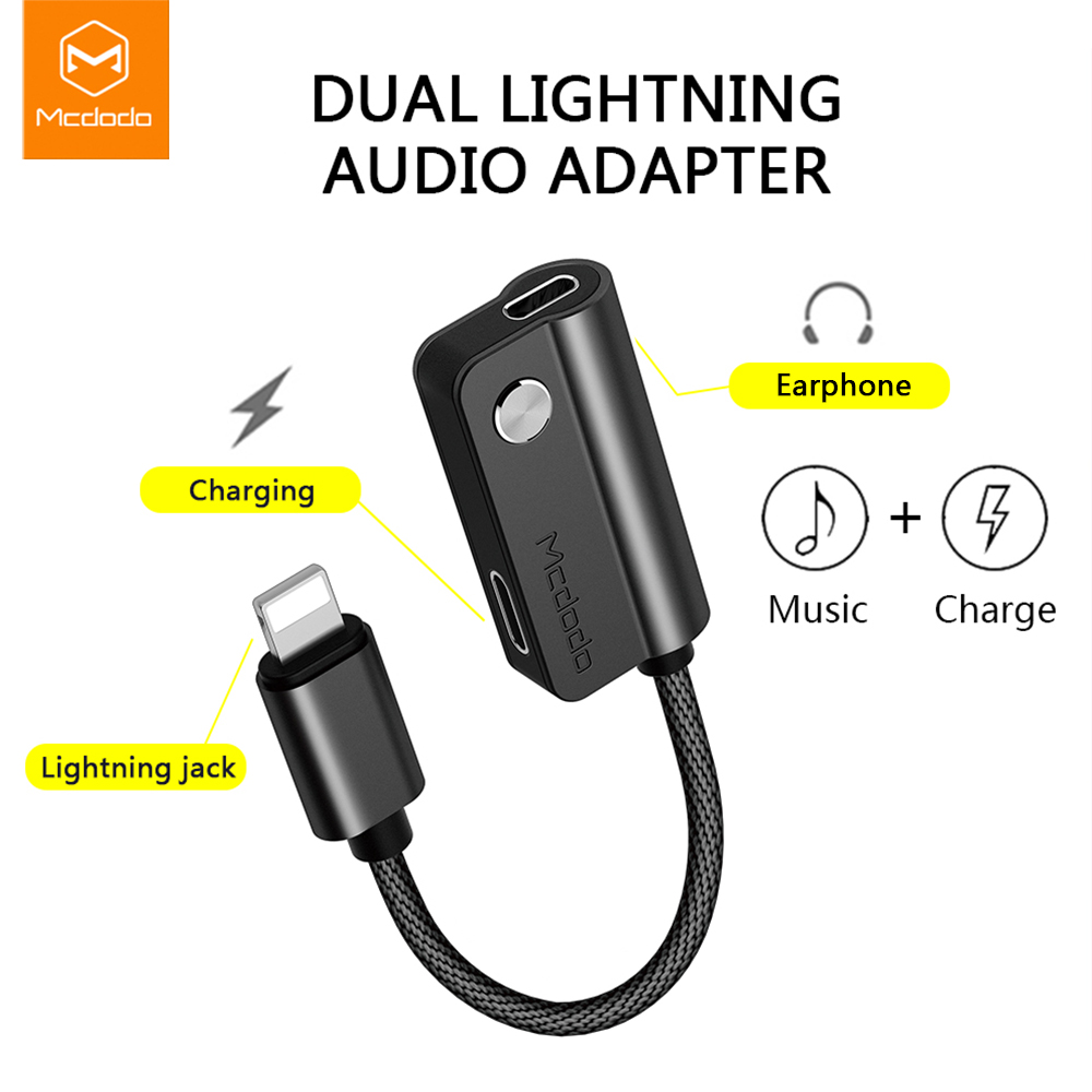 MCDODO Cable Adapter For Lightning To For Lightning For IPhone X 8 7 Plus Earphone Cable Audio Cable Charging Calling Data Music