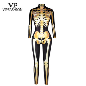 Image 5 - VIP FASHION New Graveyard Halloween Cospaly Costume For Women 3D Skull  Skeleton Ghost Jumpsuits Halloween Bodysuit
