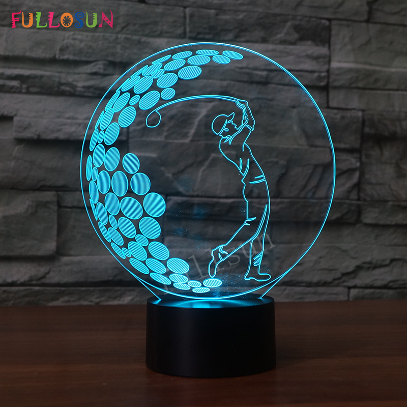 USB LED Lamp Golf Model 3D Night Lights 7 Colors Energy Bedroom Lights Novelty Holiday Gift LED Desk Lamp