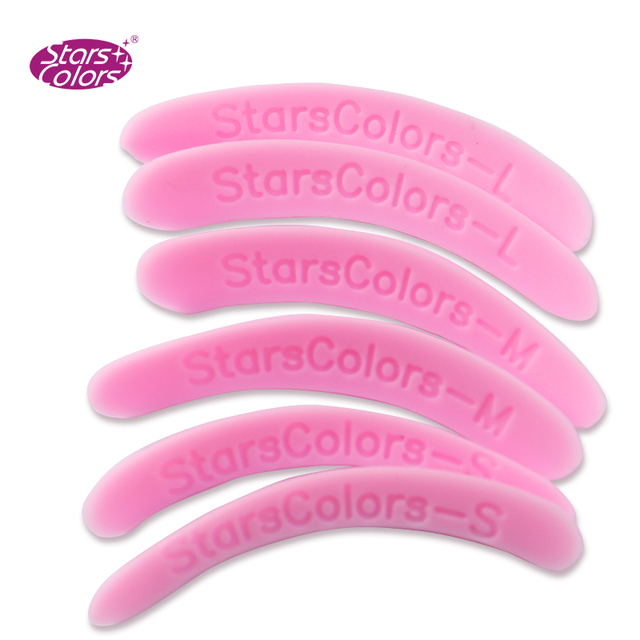 99 permanente pestañas parche 3 par/bolsa reutilizable de silicona permanente varillas de plástico Rosa 3 tamaños diferentes