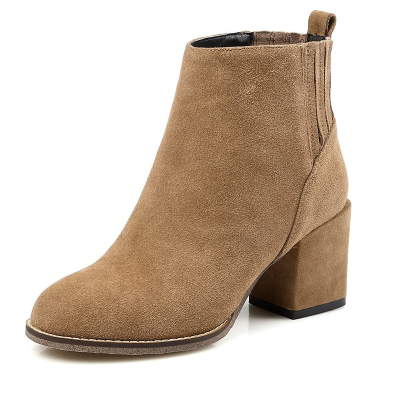 ФОТО 2017 Genuine Leather Women Boots Cow Nubuck Leather Thick Heels High Quality Female Footwear Concise Fall Winter Boots