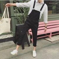 2018 Spring Men's Suspenders Harem pants Ankle Length Hip Hop pocket jean jumpsuits Male slim fit Tooling Overalls A53005