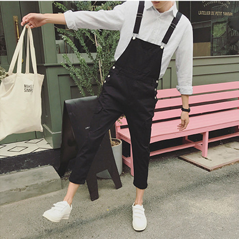 2019 Spring Men's Suspenders Harem Pants Ankle Length Hip Hop Pocket Jean Jumpsuits Male Slim Fit Tooling Overalls A53005