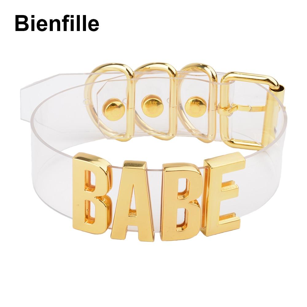 Жени мъже унисекс по поръчка ръчно изработени писмо чокер огърлица Kawaii пънк гот БДСМ яка яка злато метална прозрачна кожа BABE чокер