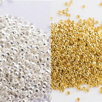 500 sztuk złoto srebro 2 2 5 3 3 5 4mm miedzi Crimp koraliki Big Hole korek Spacer koraliki dla Diy tworzenia biżuterii ustalenia dostaw tanie i dobre opinie Crimp end koraliki 0 2inch crimp end beads 0inch Ocena biżuteria Metal 0 25inch C327 Jewelry Findings gold silver 200pcs lot