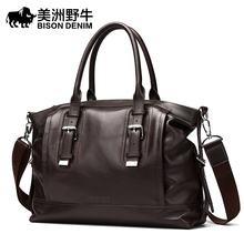 BISON DENIM Men Shoulder Bags Brand Genuine Leather Handbag Cowhide Messenger Bag Men's Briefcases Travel Bags Tote Laptop Bag