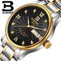 Homens relógios de pulso relógios de luxo da marca suíça binger b603b-4 luminosos relógios de pulso de quartzo cheio de aço inoxidável à prova d' água
