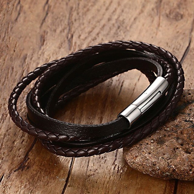 Mens Vintage Bracelets Brown Braided Leather Cuff Bracelet Bange Rope Wrap Wristband Fashion Jewelry Braslet Pulseira