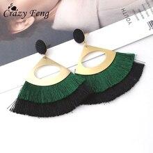 цена на Vintage Big Fringe Drop Earrings For Women Fashion Gold Geometric Hollow Out Pompom Long Tassel Earrings 2018 Jewelry Gift
