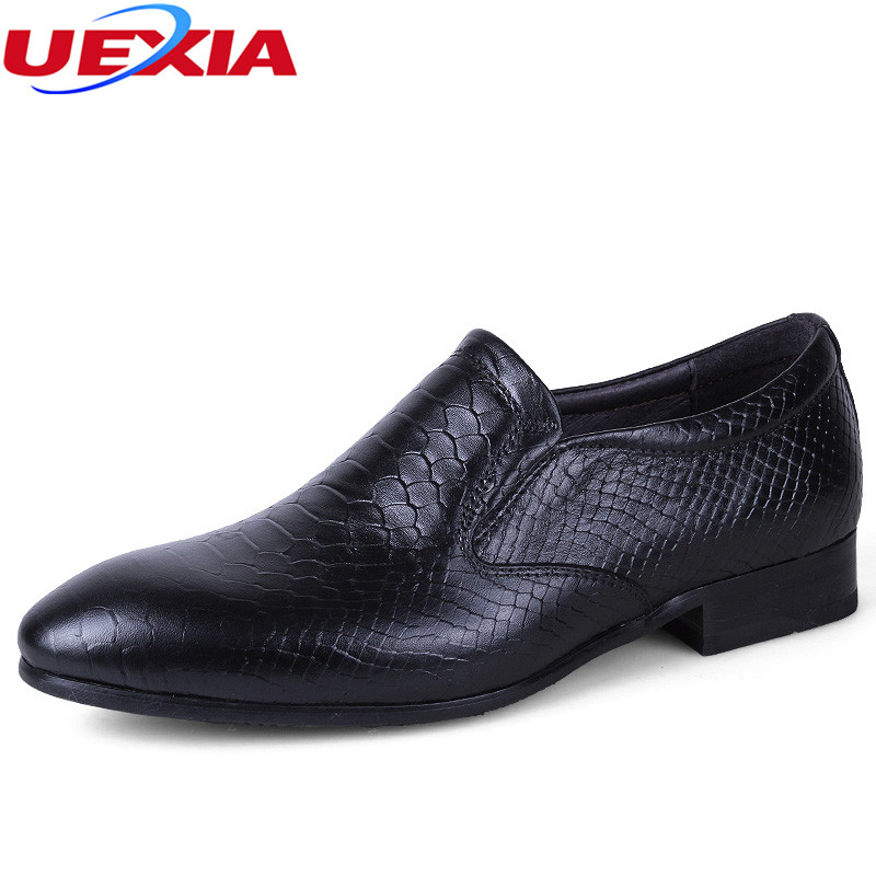 UEXIA New Luxury Leather Lace-Up Modern Men Brogue Shoes Party Wedding Formal Footwear Dress High Quality Oxfords Big Size 35-50
