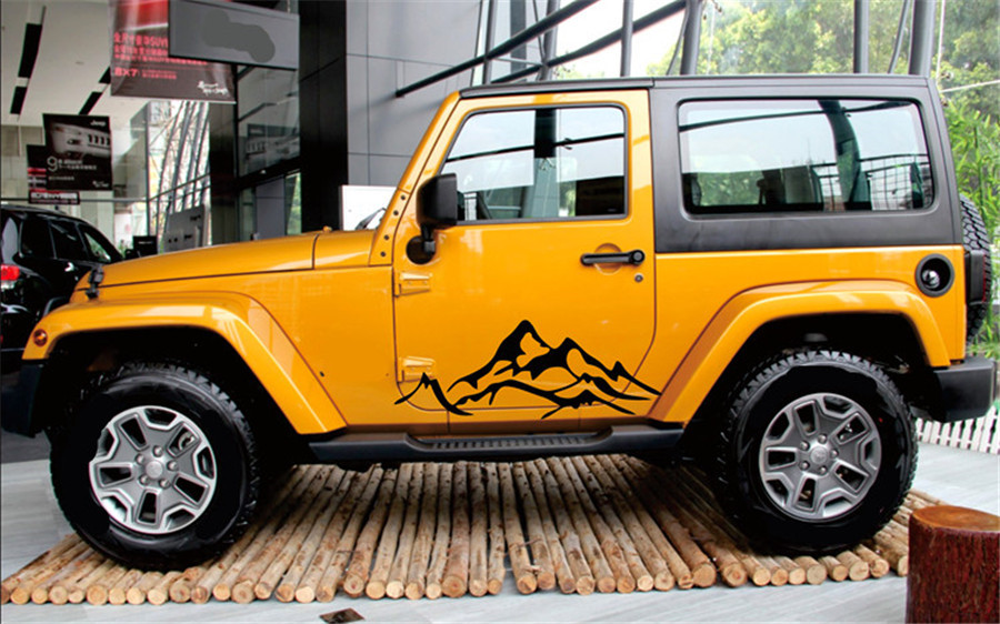 2X Mountain Graphic Car Fender Side Decal for Jeep Wrangler Rubicon Sahara KU 54 in Car Stickers from Automobiles Motorcycles