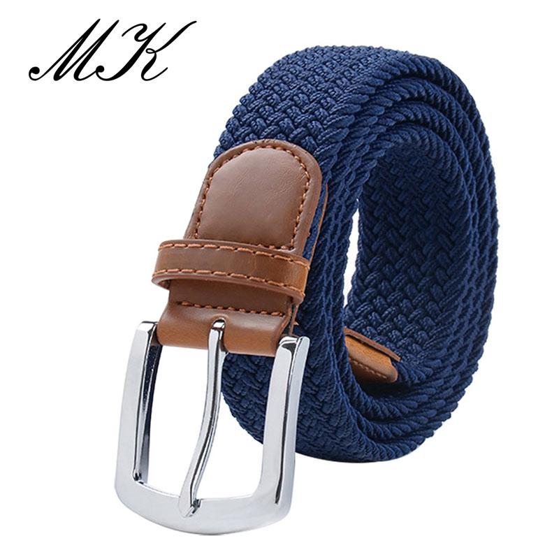 MaiKun мужские ремни с металлической пряжкой булавки эластичный мужской ремень армейский тактический ремень для мужчин - Цвет: Darkblue