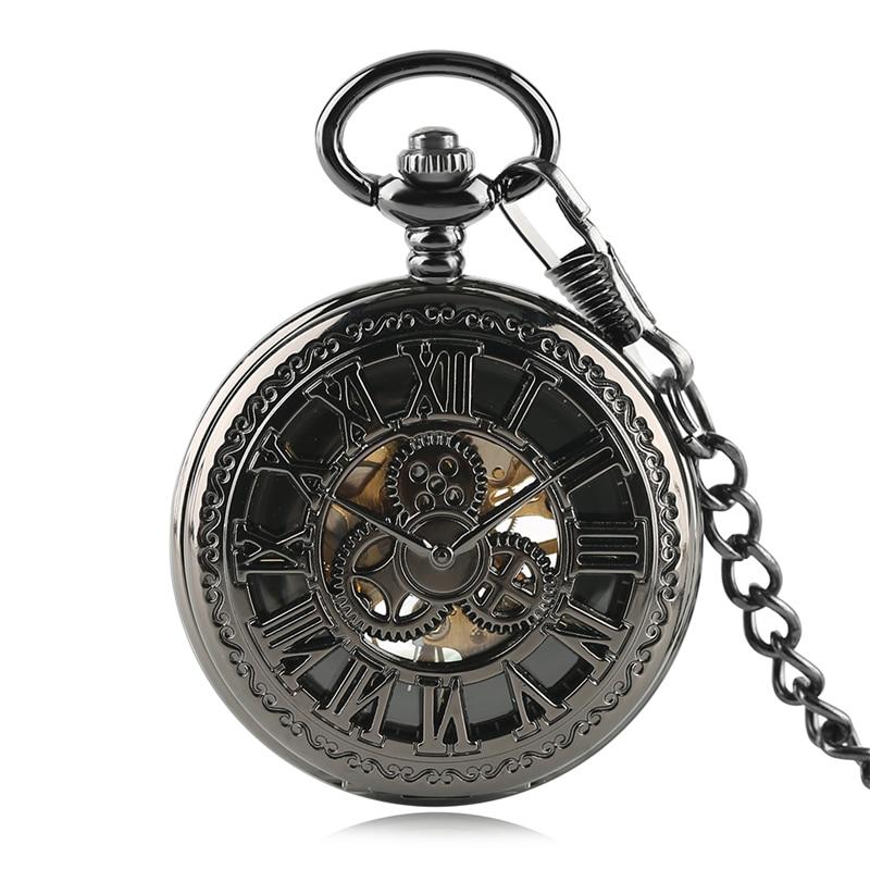 Antique Hollow Roman Number Gear Wheel Design Mechanical Pocket Watch Retro Pendant Clock Gifts For Men Women Reloj De Bolsillo