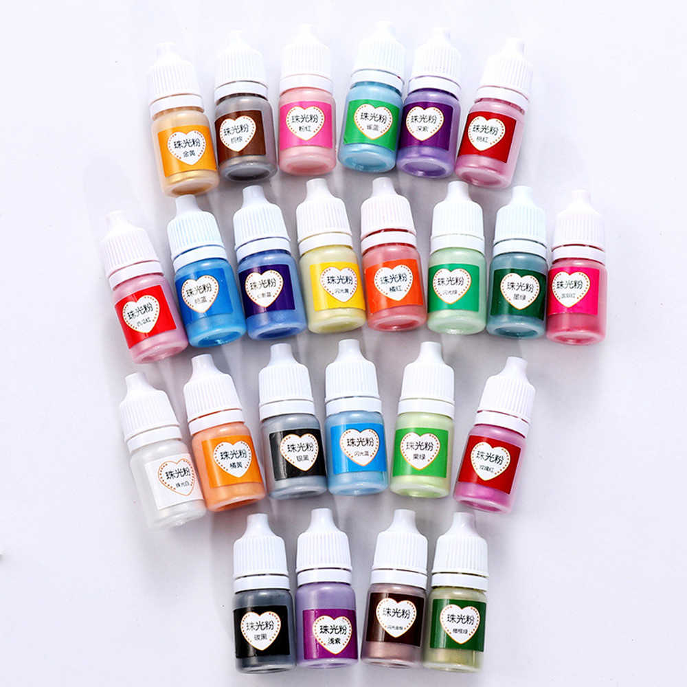 5ml Pearlescent Mica Pigment Powder Rainbow UV Resin Epoxy For DIY Jewelry Making 24 Colors Making Crafts Paper Decor Accessory