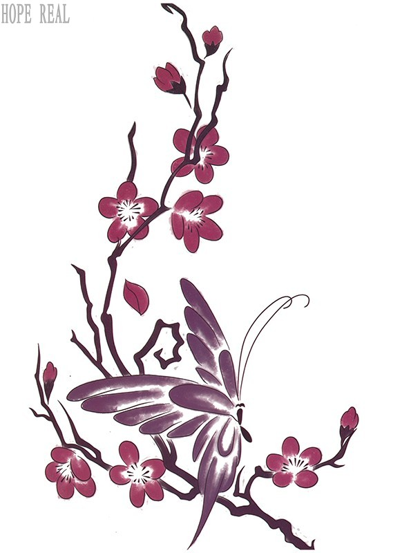 2pcs 3d colorful Butterfly plum flower big large Temporary tattoo stickers warterproof for women back body free shipping 1