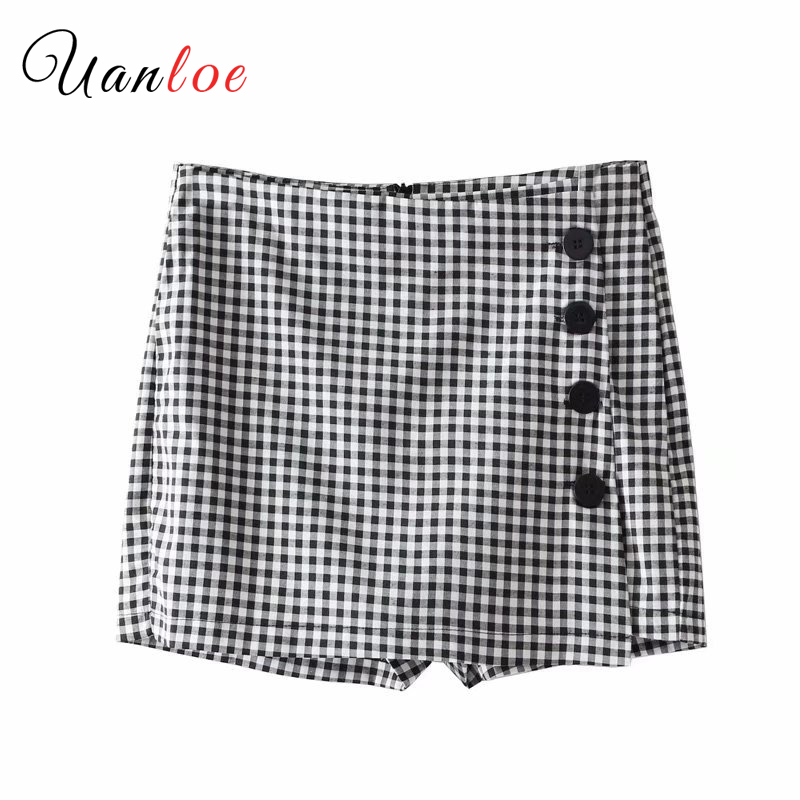Women Elegant Plaid Pleated Shorts Checkered Buttons Back Zipper Ladies Summer Casual Shorts Pantalones Cortos