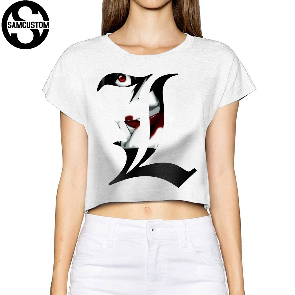Samcustom Camisetas Real Short New Death Note 3d Printing Summer Fashion Street T Shirt Anarchy Bare Midriff Sexy T-shirt Women 100% Original Tops & Tees