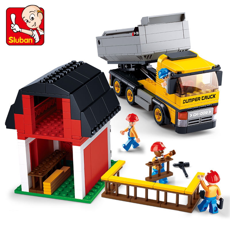 SLUBAN 384pcs City Engineering Series Building Blocks SimCity Dumpers DIY Kids Creative Bricks Toys Christmas Gift image