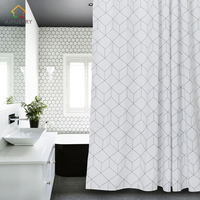 Aimjerry White And Grey Bathroom Fabric Shower Curtain With 12 Hooks 71Wx71H Freeshipping