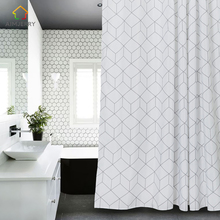 Aimjerry White and Grey Bathtub Bathroom Fabric Shower Curtain with 12 Hooks 71Wx71H High Quality Waterproof and Mildewproof 041