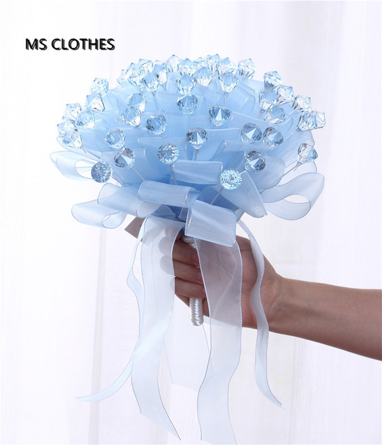 Crystals Blue Pink Purple Big Wedding Bouquet Bridal Bouquet With Ribbon Band