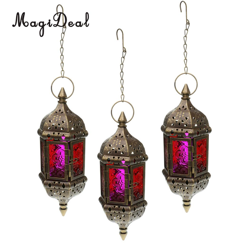 Gifts /& Decor Red Glass Metal Moroccan Candle Holder Hanging Lantern New