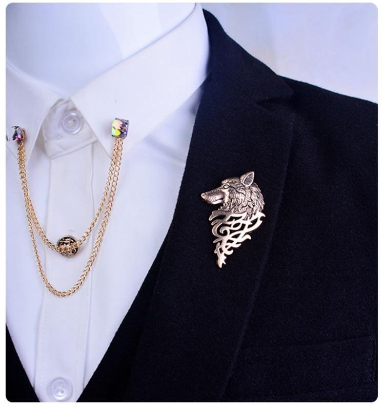 Angel wings Brooch Mens suit collar crystal metal wings chain ...