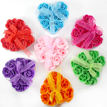 6Pcs Roses in 1 Random Color Handmade Soap Flower Heart Scented Bath