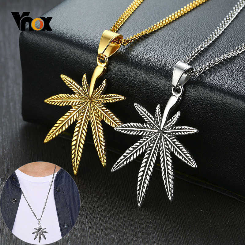 "Vnox Vintage Leaf Pendant for Men Stainless Steel Necklaces Maple Texture Accessory with 24"" Chain"