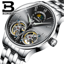 2017 NEW arrival men's watch luxury brand BINGER sapphire Water Resistant toubillon full steel Mechanical clock B-8606MN-2