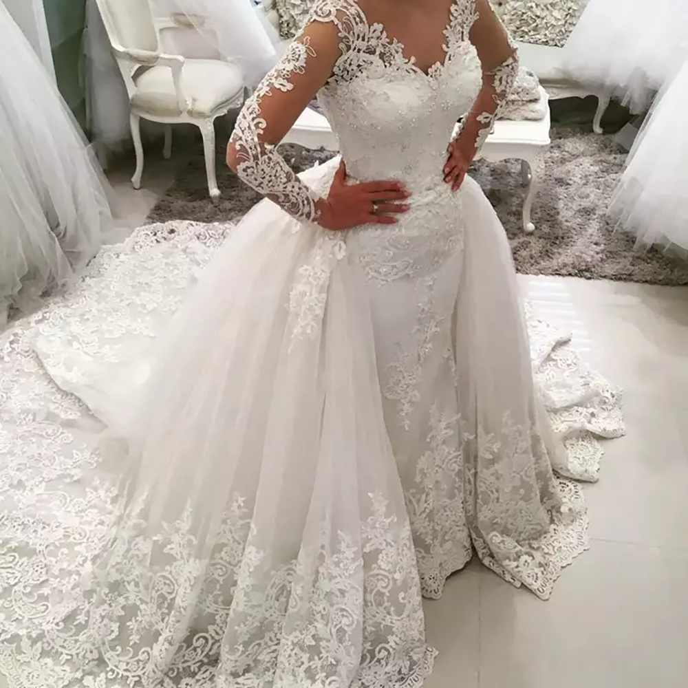 Fansmile 2020 New 2 In 1 Arabic Amazing Detachable Train Mermaid Wedding Dress Long Sleeve Lace Bridal Wedding Gowns FSM-590T