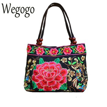 Vintage Women Bag Retro Handbag National Ethnic Canvas Totes Wood Beads Double Layered Travel Shoulder Bag Sac Femme Bolsos online shopping in pakistan with free home delivery
