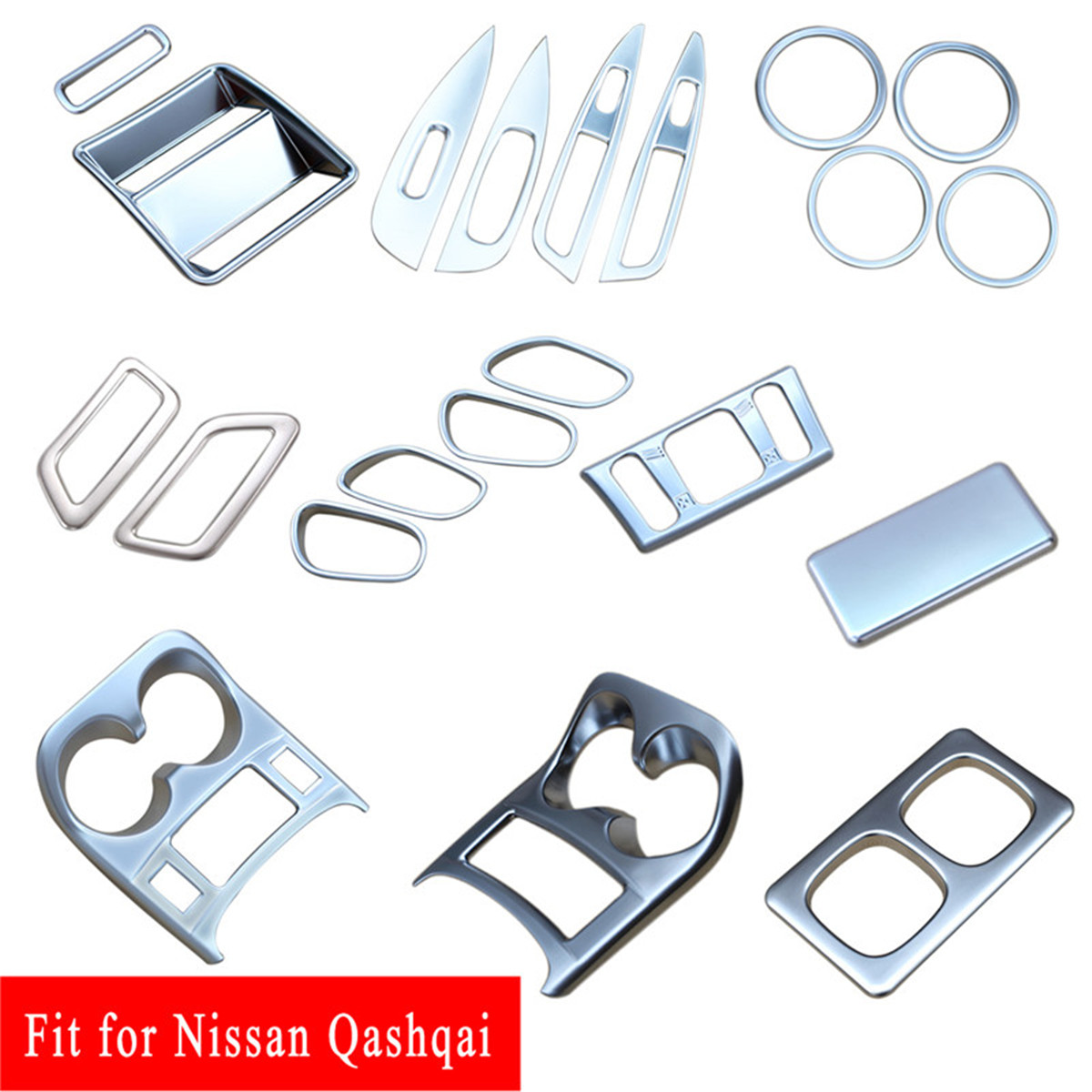 Accessoires en Chrome support de verre à eau poignée de porte couvercle d'aération garniture pour Nissan Qashqai J11 2014 2015 2016 2017 2018 2019