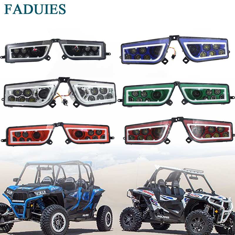 FADUIES ATV Polaris General 1000 Led Headlights Polaris RZR XP1000 / Turbo Full Halo Angel Eyes LED Replacement Headlight Kit