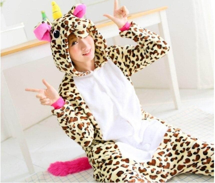 Kigurumi Cosplay Kigurums Polar fleece Adult Cartoon Brown Unicorn Onesie Unisex Pajamas Animal Pyjamas Costumes Sleepsuit