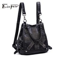 ESUFEIR Brand Soft Washed Leather Backpack Fashion Rivet Design Quality PU Women Backpacks School Bag Casual