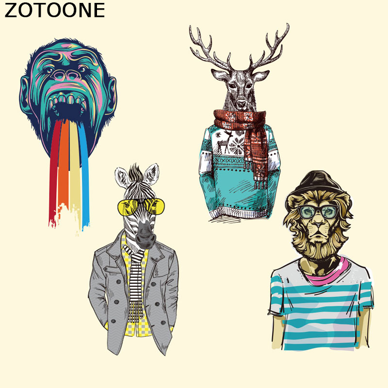 ZOTOONE Animal Iron on Transfer for Clothing Punk Stickers on Clothes DIY Badges Girl Patches T shirts Washable Transfer Patches in Patches from Home Garden