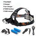 9000 Lumens 3 LED Headlight Bike lights XM-L T6 Head Lamp High Power LED Headlamp +2*18650 Battery +Charger+Car Charger+Bike cli