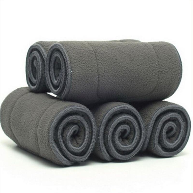 Детские подгузники из бамбукового волокна, Моющиеся Многоразовые Дышащие вкладыши с 4 слоями, 10 шт./лот
