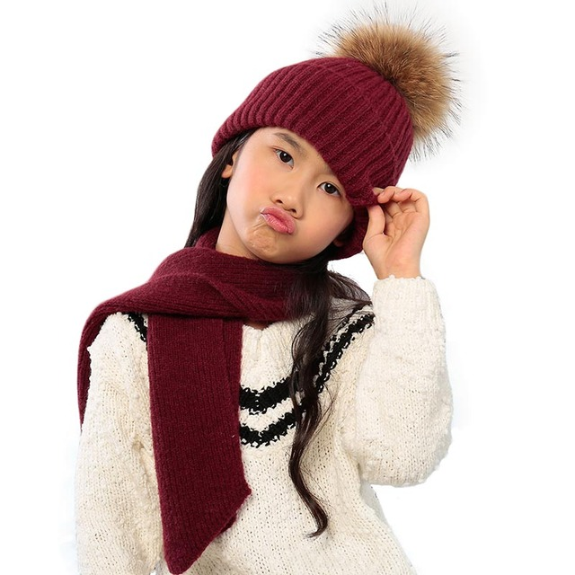 40a7d431829fe 2017 New Fashion BMSHPY Brand Baby Warm Hats Scarfs Set Real Natural  Raccoon Fur Pompon Hat