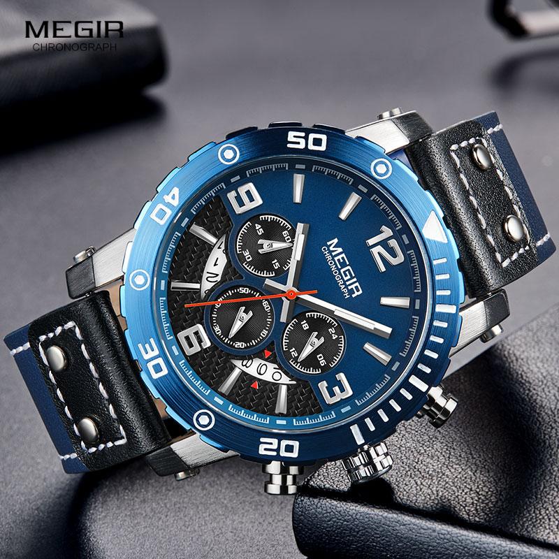 Ure mænd MEGIR mænd kronograf kvarts ure ægte læder armé - Mænds ure - Foto 4