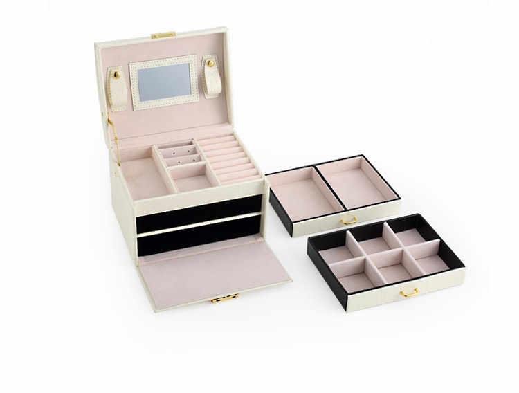 มัลติฟังก์ชั่ผู้หญิงกล่องของขวัญเก็บBoxlหนังเดินทางกระเป๋าเดินทางนาฬิกา/เครื่องประดับกรณีเครื่องสำอางออแกไนเซอร์DIYกรณีการจัดเก็บลิ้นชัก