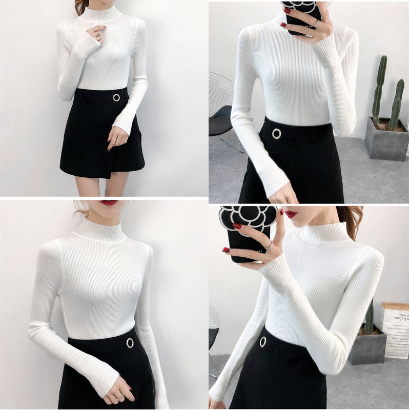 SVOKOR Sweater Women Solid Slim Half-neckline Warm Knitwear Winter Long Sleeve Turtleneck Top 4